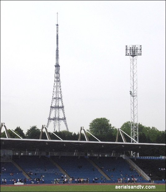 Crystal Palace athletics stadium with Crystal Palace transmitter in the background