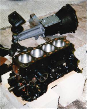 Half built 2.1 Ford Pinto angine and Ford (Cortina) 4 speed gearbox, awaiting installation in Westfield SEi (1989)