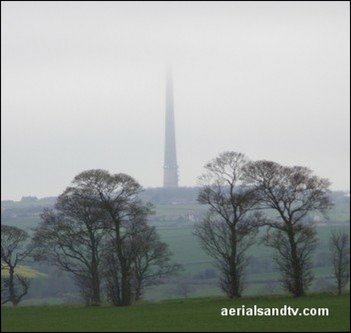 Emley Moor with its head in the clouds