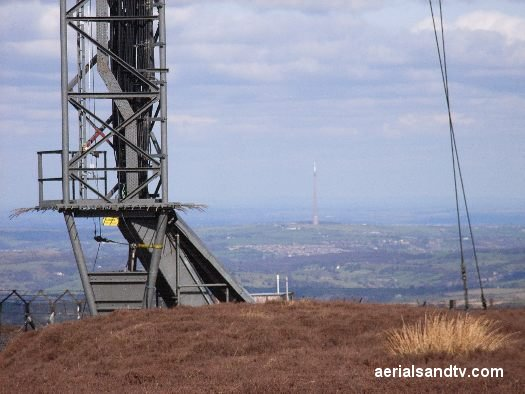 Holme Moss transmitter with Emley Moor in the background