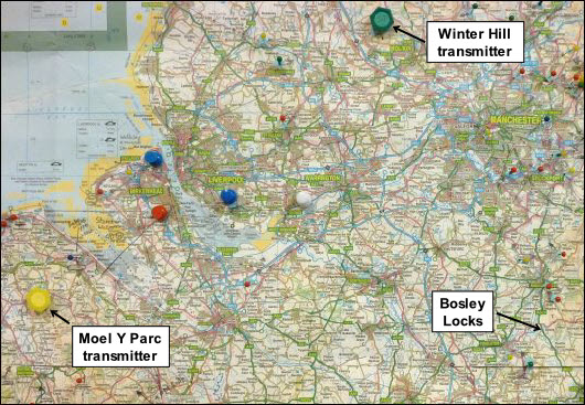Bosley locks location relative to Moel Y Parc and Winter Hill transmitters