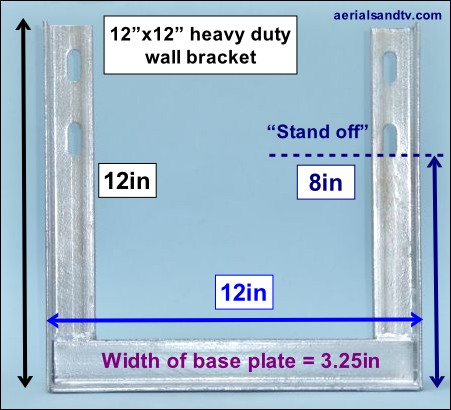 12in x 12in heavy duty wall bracket dimensions