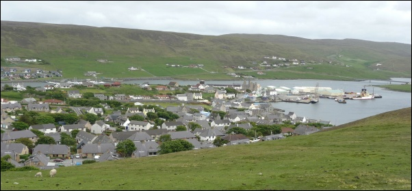 Scalloway and Voe from Gallow hill (site of Scalloway transmitter)