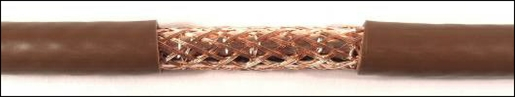 Copper/copper double shielded satellite coaxial cable - brown
