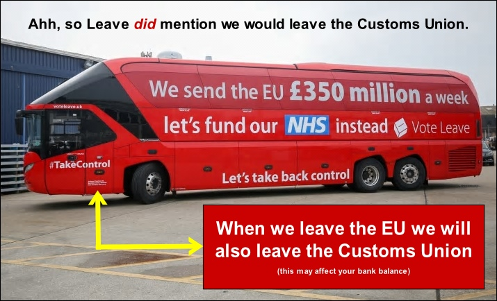 Leave`s bus promised we`d give the NHS $350 million a week, and we`d leave the Customs Union